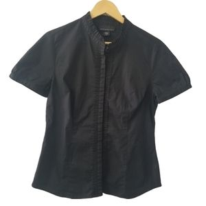 attention Black Button Down Short Sleeve Blouse